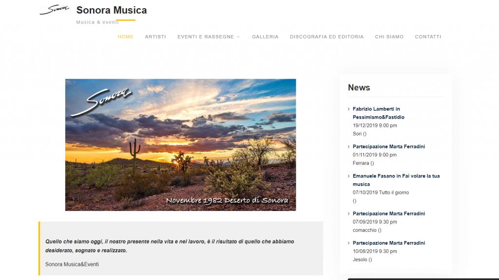 sonora musica siti web